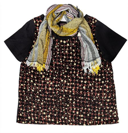 Catherine Andre 100% cotton batik tee, paired with Tamaki Niime 100% cotton gauze scarf