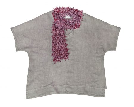 Motion 100% linen onesize top, paired with Bunzaburo 100% silk shibori-dyed scarf, handmade in Japan