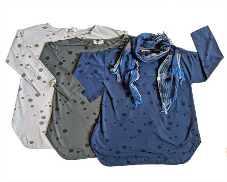 Mama B dotted tops, back in stock! Paired with Tamaki Niime 100% cotton scarf