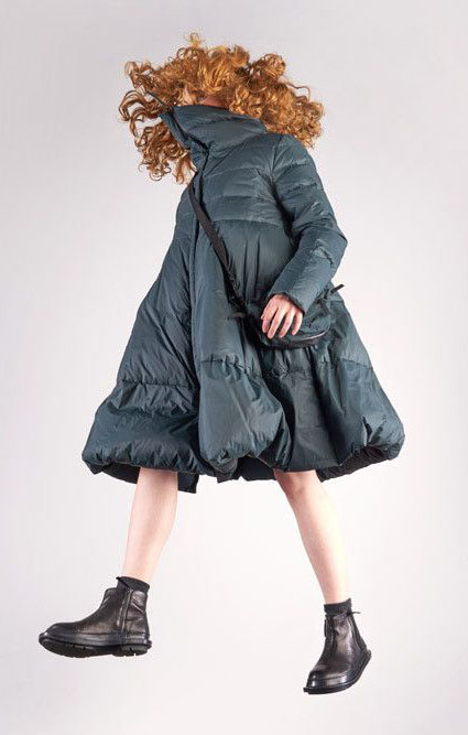 Rundholz Black Label winter down puffer with full skirt and high collar.