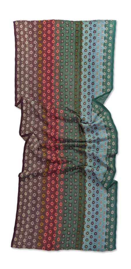 Catherine Andre classic dotted scarf in berry and teal tones.