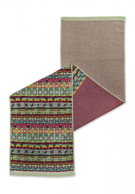 Catherine Andre berry-tones half-half reversible shawl.