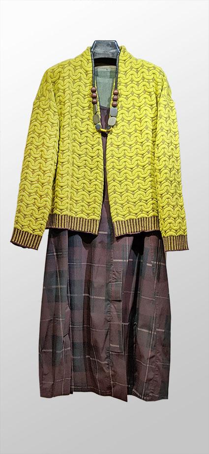 Catherine Andre wool knit open cardigan, over Rundholz Black Label tartan print bubble dress.