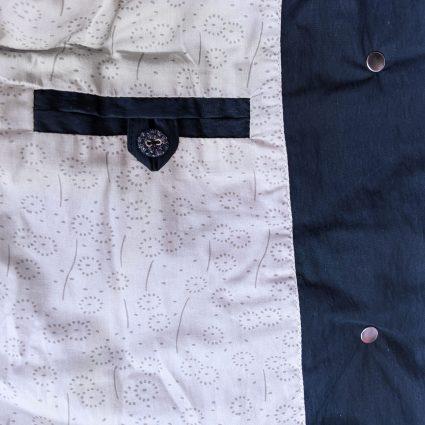 McVerdi navy blue fall coat, inside pocket and cotton lining.