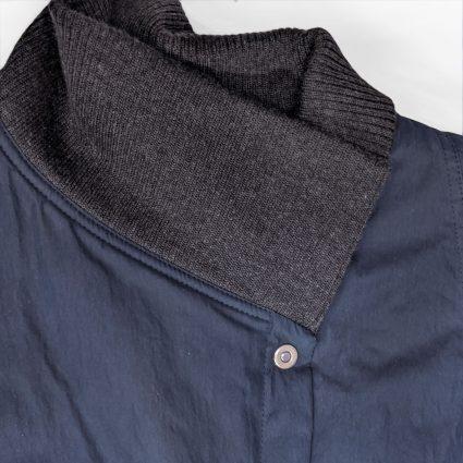 McVerdi navy blue fall coat, ribbed collar and snap buttons.