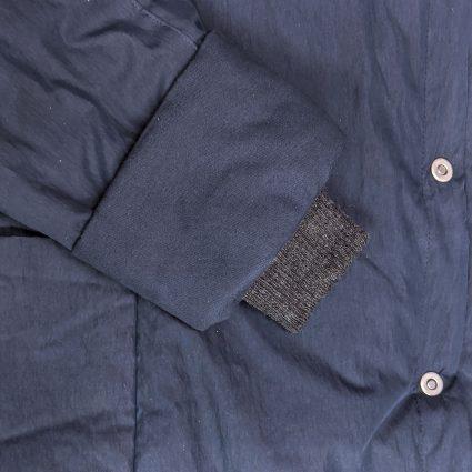 McVerdi navy blue fall coat, storm cuff detail with rib knit.