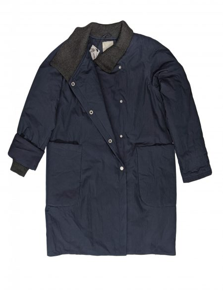 McVerdi navy blue fall coat with big pockets and rib knit details.
