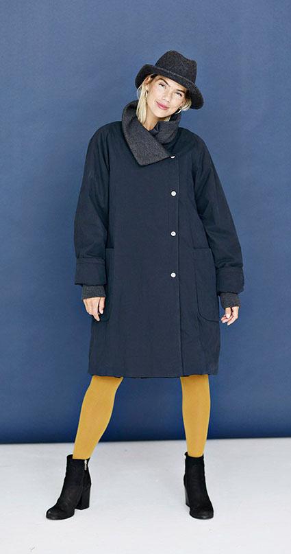 McVerdi navy blue fall coat with rib knit details.