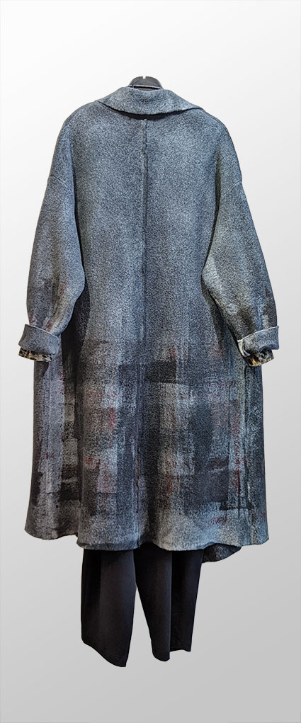 Reverse, Mama B hand-painted boiled wool coat.