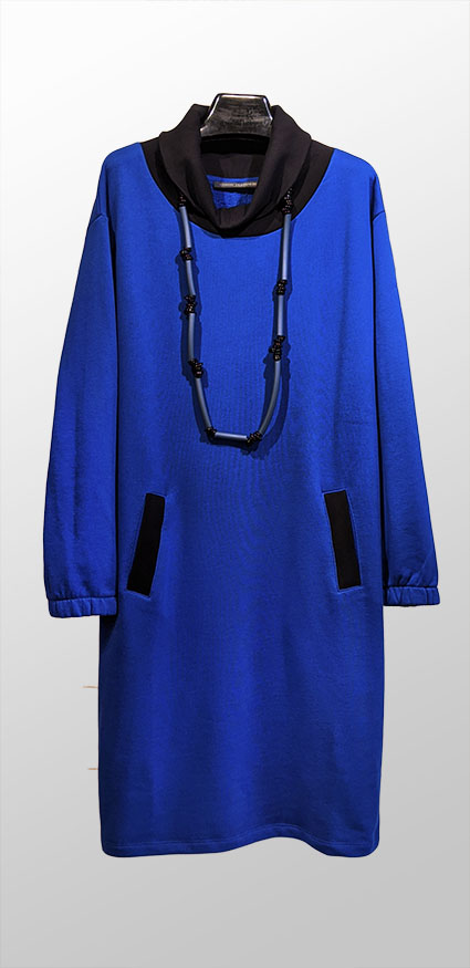 Elemente Clemente cobalt blue French Terry dress with front pockets and black ribbed cowl.