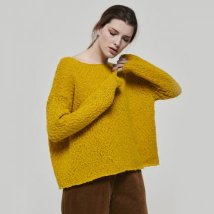 Mes Soeurs et Moi honey yellow sweater with thick slub yarns. Wool blend.