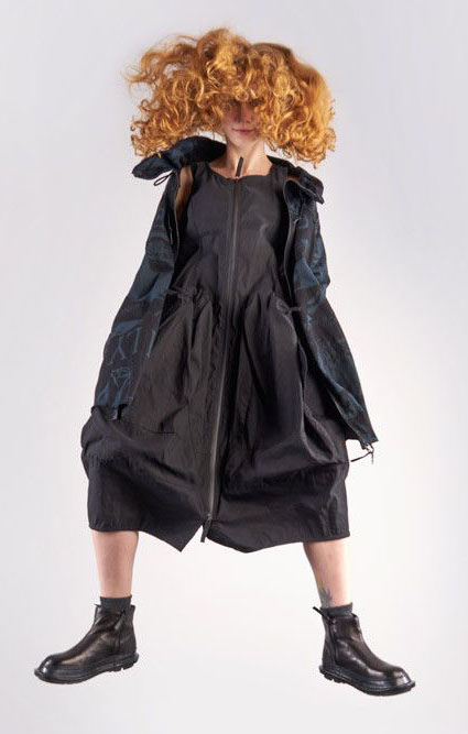 Rundholz Black Label technical stretch bubble dress with big zipper.