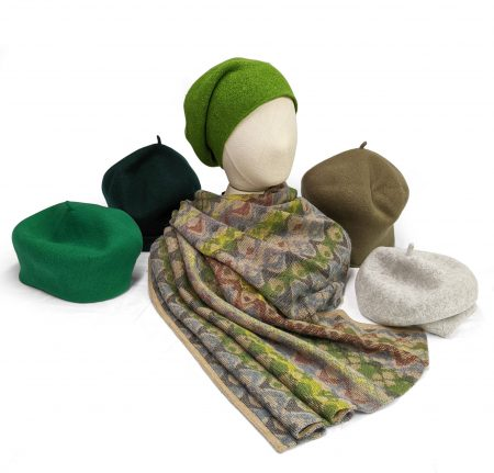 Kopka 100% merino wool berets in green tones. Paired with a Catherine Andre wool-blend cozy shawl.