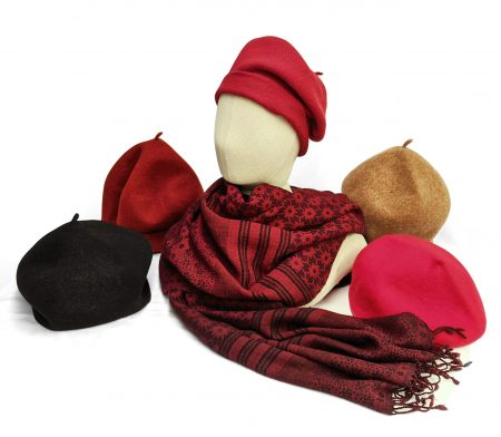 Kopka 100% merino wool berets in red tones. With an Elemente Clemente 100% wool reversible shawl.