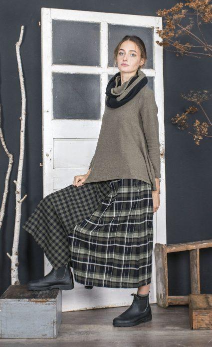 Mama B pattern-blocked check and tartan culottes.
