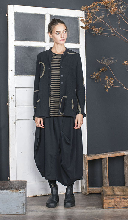 Mama B flounce jacket in cozy knit with circles, over Mama B striped cotton tee.