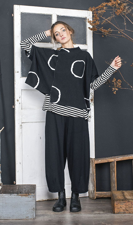 Mama B asymmetric pullover in cozy knit with circles. Over Mama B cotton striped tee.