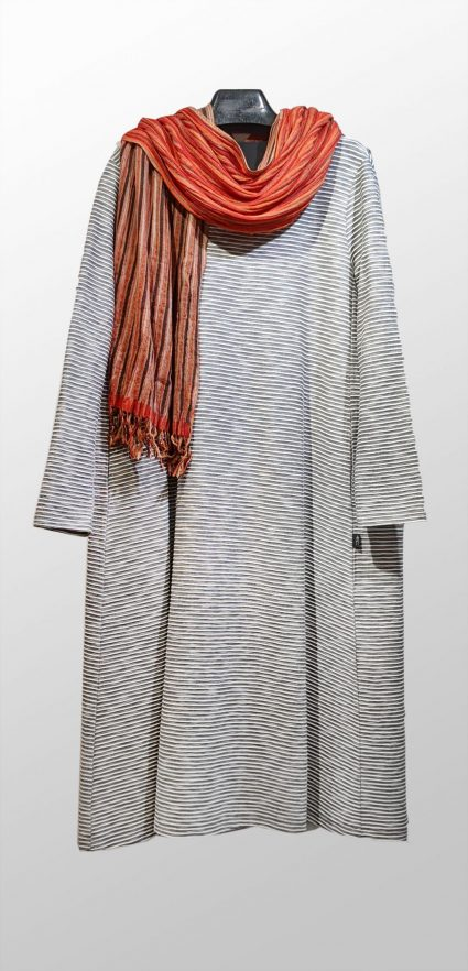 Elemente Clemente organic cotton blend striped dress, paired with Neeru Kumar reversible 100% silk scarf.