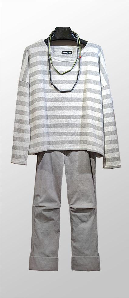Mes Soeurs et Moi cozy stripe pullover in cloud greys, over Vespa pants in ash grey.
