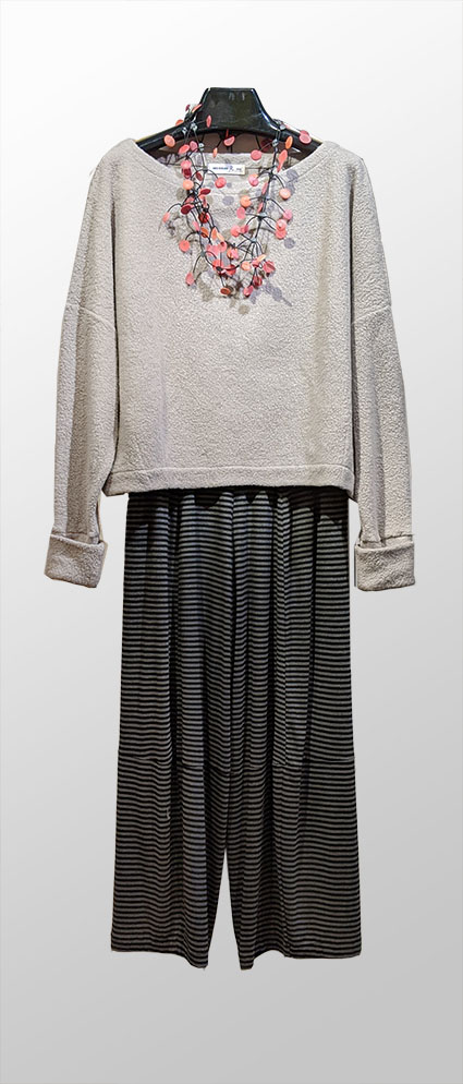 Mes Soeurs et Moi faux-shearling pullover in ash grey, over Motion bamboo rayon bubble pants in grey and black stripe.
