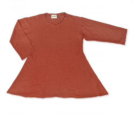 Motion cotton-linen blend swing tee in burnt orange.