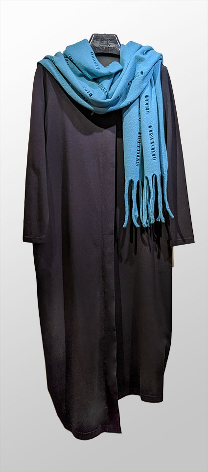 Mama B asymmetric cotton knit dress, paired with Catherine Andre sky blue wool scarf.