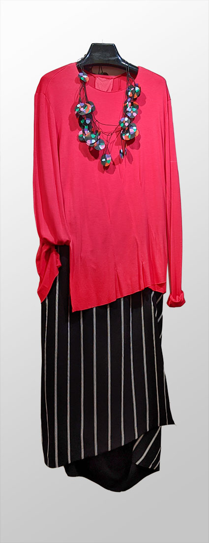 Pal Offner hot pink doubleknit cotton tee, over Moyuru striped skirt.