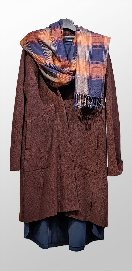 Elemente Clemente boiled wool cardi-coat, over Mama B cotton knit dress. Paired with Elemente Clemente plaid scarf.