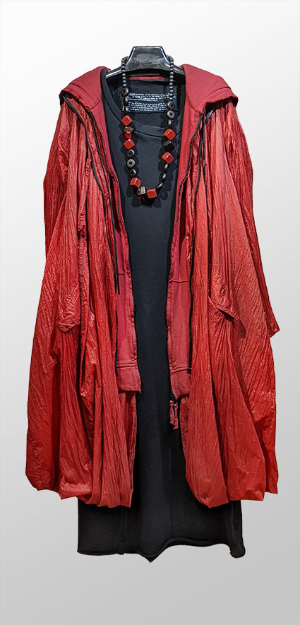 Rundholz Dip crimson hoodie-coat, over Rundholz Black Label French Terry bubble dress.