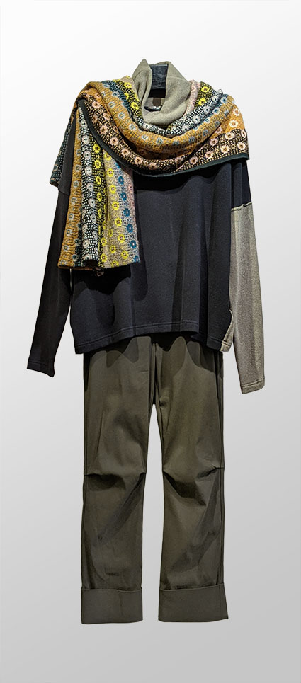 Mama B cozy knit colorblock turtleneck, over Vespa pants in Cadet green. Paired with a Catherine Andre millefiori wool-blend shawl.
