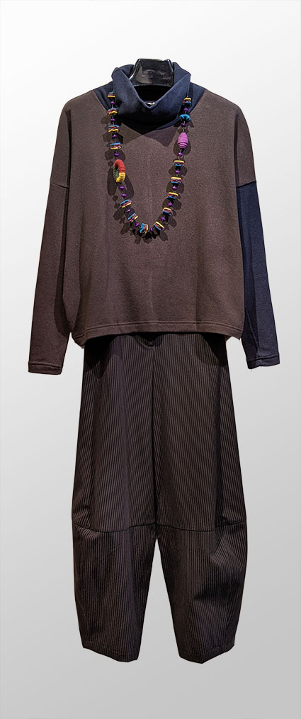 Mama B cozy knit colorblock turtleneck, over Motion classic bubble pants in brown and black pinstripe.