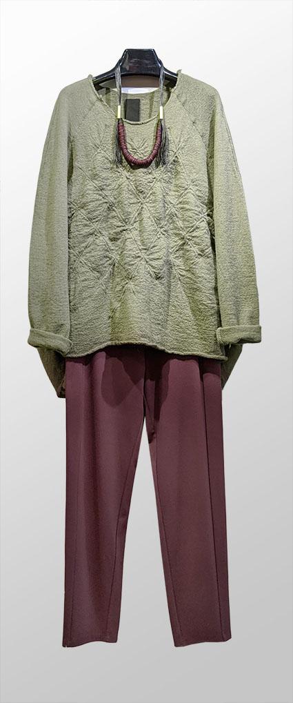 Rundholz Black Label boiled wool sweater, over Mes Soeurs et Moi slim doubleknit pants in Burgundy.