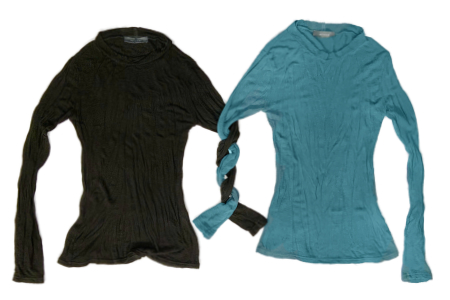 Neirami fitted long sleeve tees. Made with a viscose-wool blend knit for a heat layer close to the body.