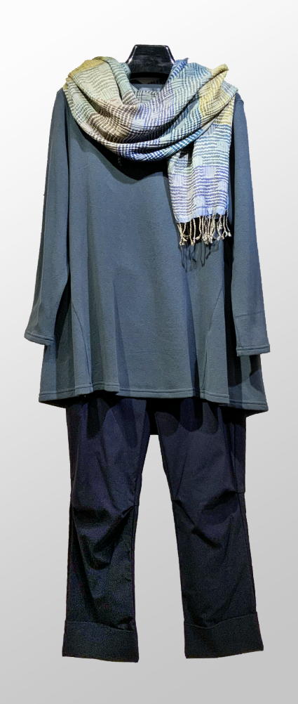 Neirami cozy knit tunic in dark teal, over Vespa pants in Navy blue. Paired with a Neeru Kumar 100% silk scarf.