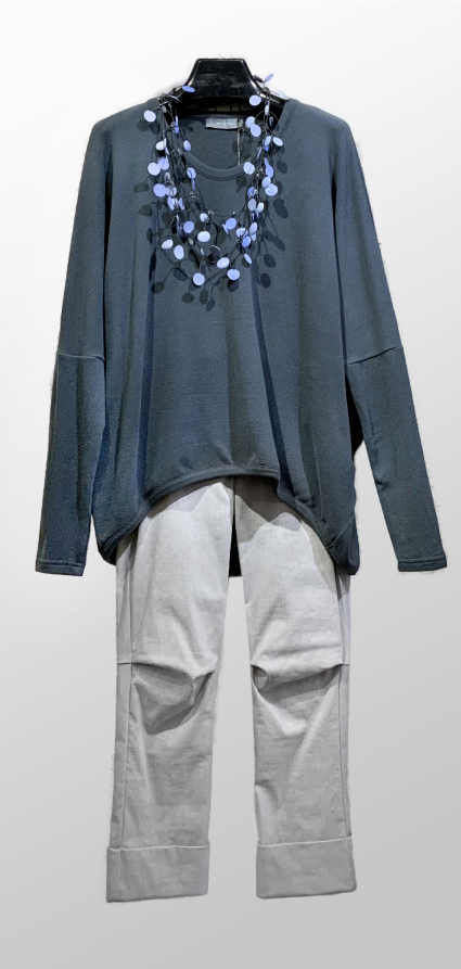 Neirami cozy knit relaxed sweater in dark teal, over Vespa pants in Ash grey.