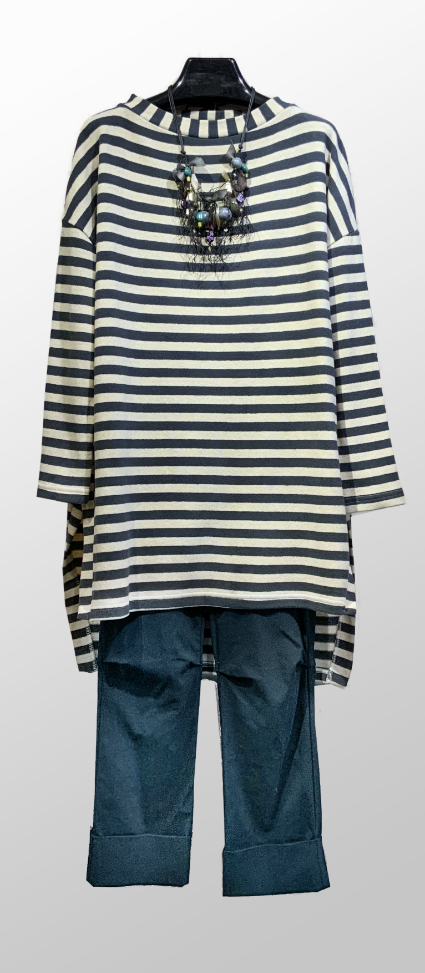 Neirami striped long tunic, in a cotton-blend cozy knit, over Vespa pants in Juniper green.