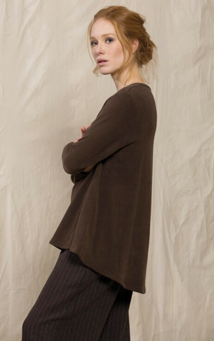 Neirami cozy-knit tunic in chocolate brown.