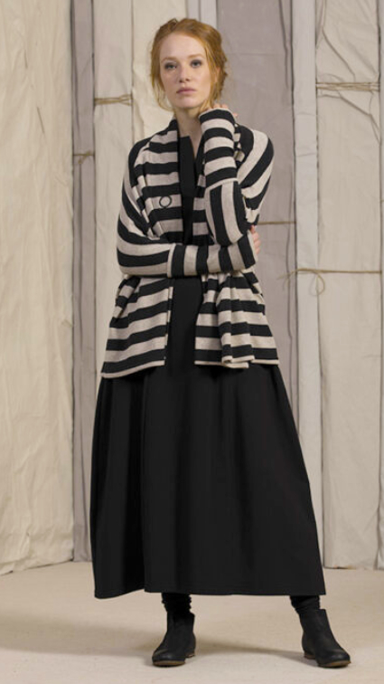 Neirami relaxed cardigan in striped cozy cotton-blend knit.