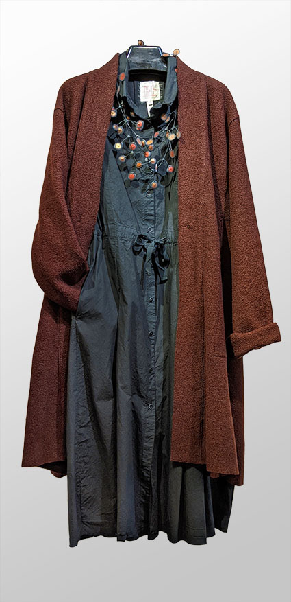 Elemente Clemente boiled wool cardigan coat in Oxblood, over Hannoh Wessel 100% cotton dress with drawstring waistline