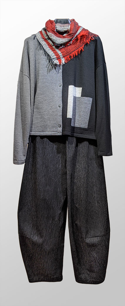 Mes Soeurs et Moi colour-block wool cardigan, over Oska corduroy trousers. Paired with a Tamaki Niime 100% cotton scarf.