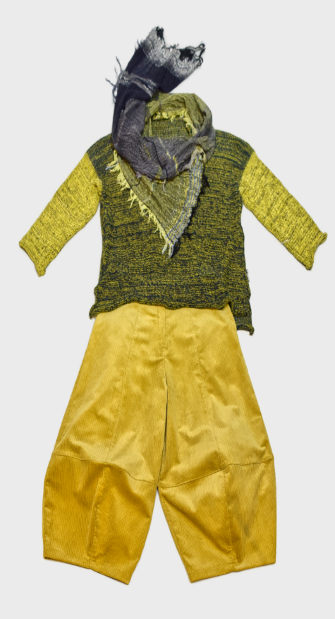 Skif cotton-blend knit sweater, over a pair of Motion corduroy bubble pants in pear yellow. Paired with a Tamaki Niime 100% cotton gauze scarf.