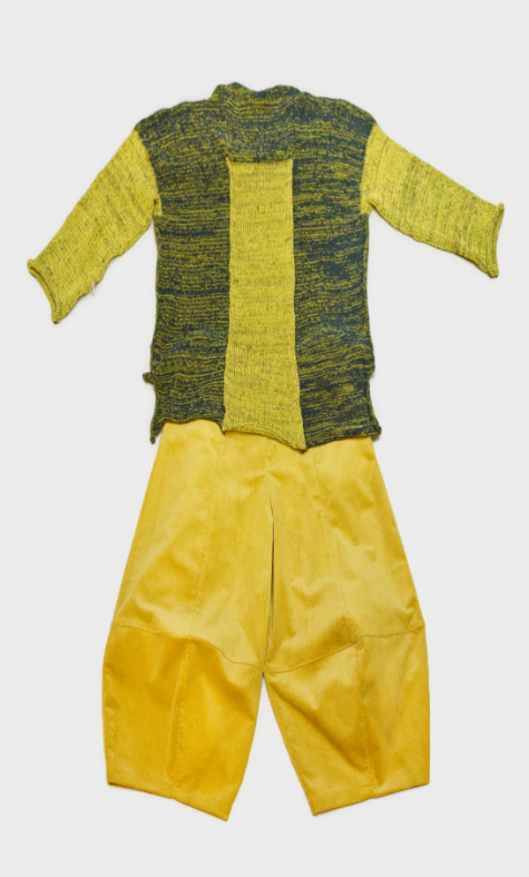 Skif cotton-blend knit sweater, over a pair of Motion corduroy bubble pants in pear yellow.