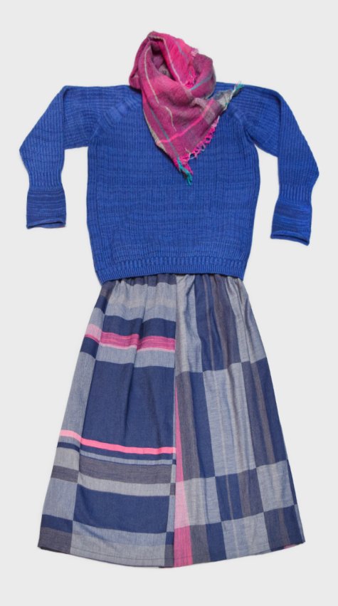 Tamaki Niime 100% cotton pieces. Tamaki Niime cotton-yarn royal blue sweater, layered with a cotton-weave gathered skirt. Paired with a Tamaki Niime 100% cotton gauze scarf.