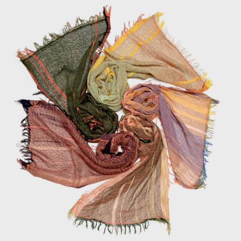 Tamaki Niime 100% cotton gauze scarves in warm spices.