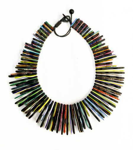 Sobral striped colourful fringe necklace.
