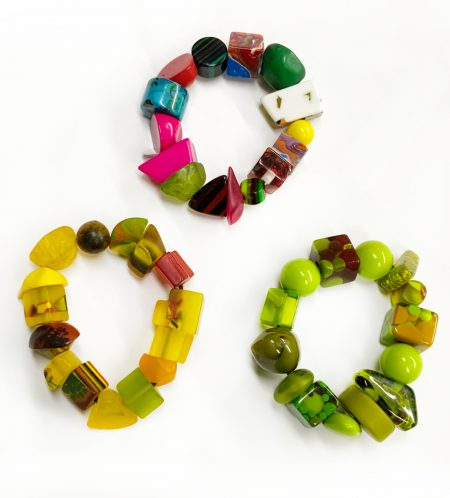 Sobral colourful resin bracelets.