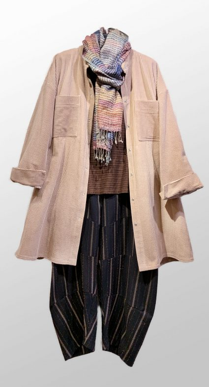 McVerdi dusty rose corduroy shirt-jacket, over a Motion textured stripe tee. Paired with Neirami striped trousers with tucks, and a Neeru Kumar 100% silk shawl.