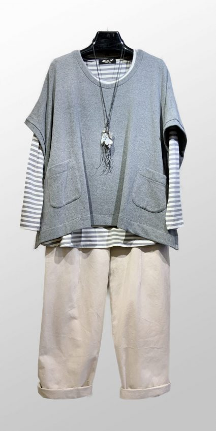 Mama B cozy knit vest topper, over Mama B striped a-line tee in white-grey stripe. Over Neirami off-white cotton twill trousers.