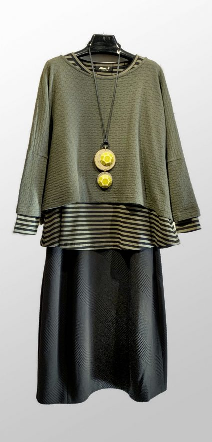 Mama B khaki green eyelet knit top, over a Mama B a-line striped tee. Paired with a Motion textured bubble skirt.