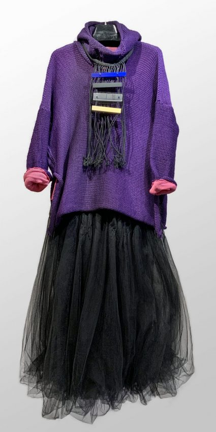 Skif royal purple knit hoodie, paired with a Motion 100% cotton mesh tee. Over a Black Label smocked crinoline skirt.